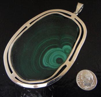 Green malachite slice and sterling silver pendant