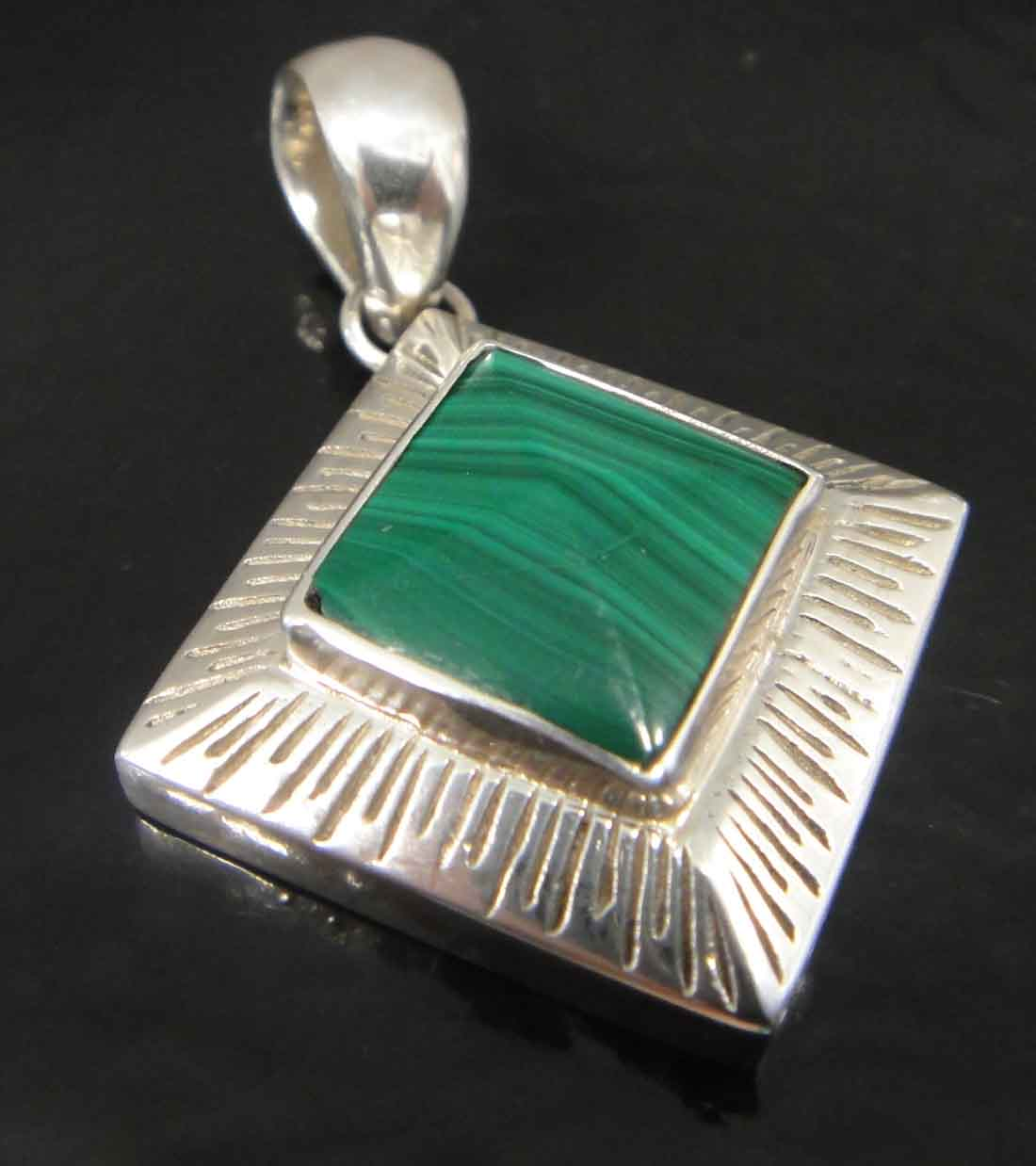Handmade green malachite, sterling silver, 3D pyramid shaped pendant