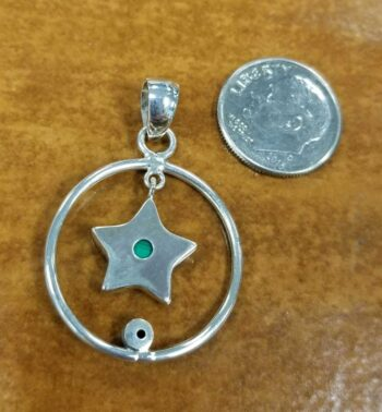back of malachite and peridot sterling silver pendant
