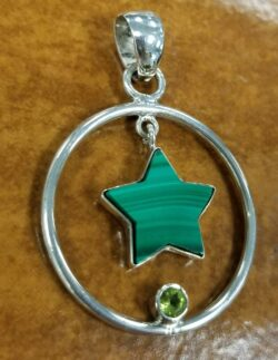malachite star pendant