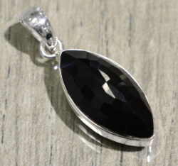 marquise shaped black onyx and sterling silver pendant
