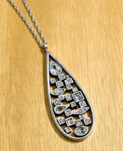 Patricia Locke Matrix silvertone necklace in All Crystal close up