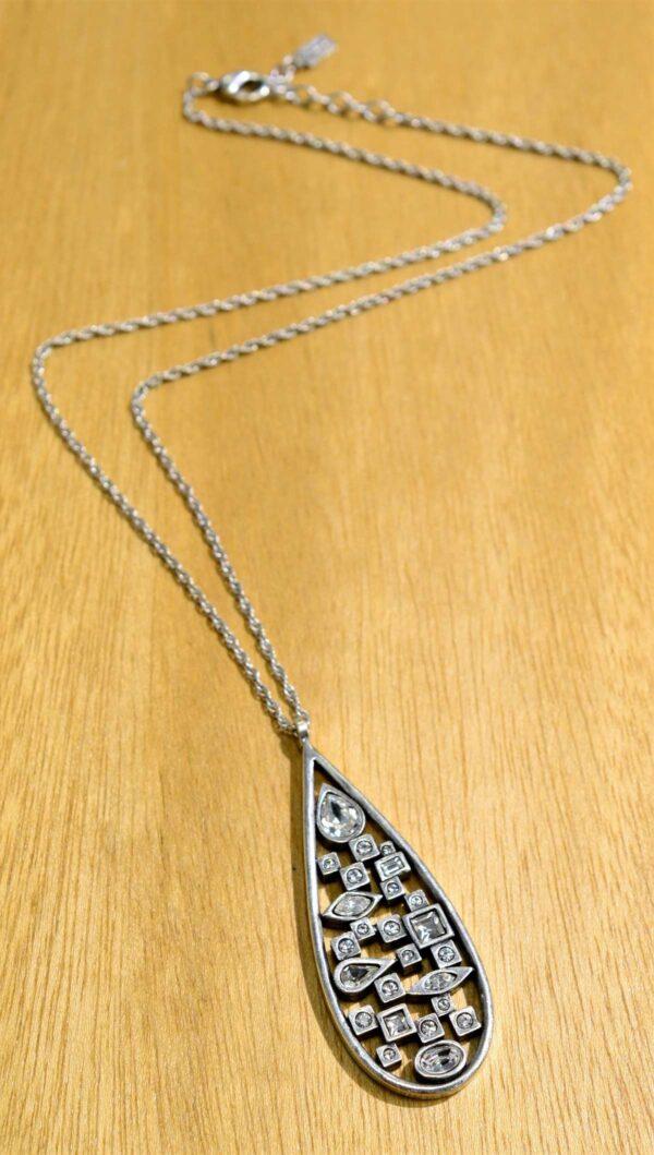 Patricia Locke Matrix silvertone necklace in All Crystal