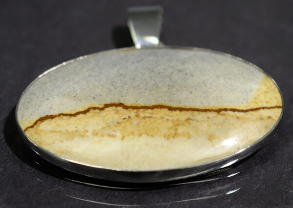 handmade McDermitt jasper and sterling silver oval pendant by Dale Repp