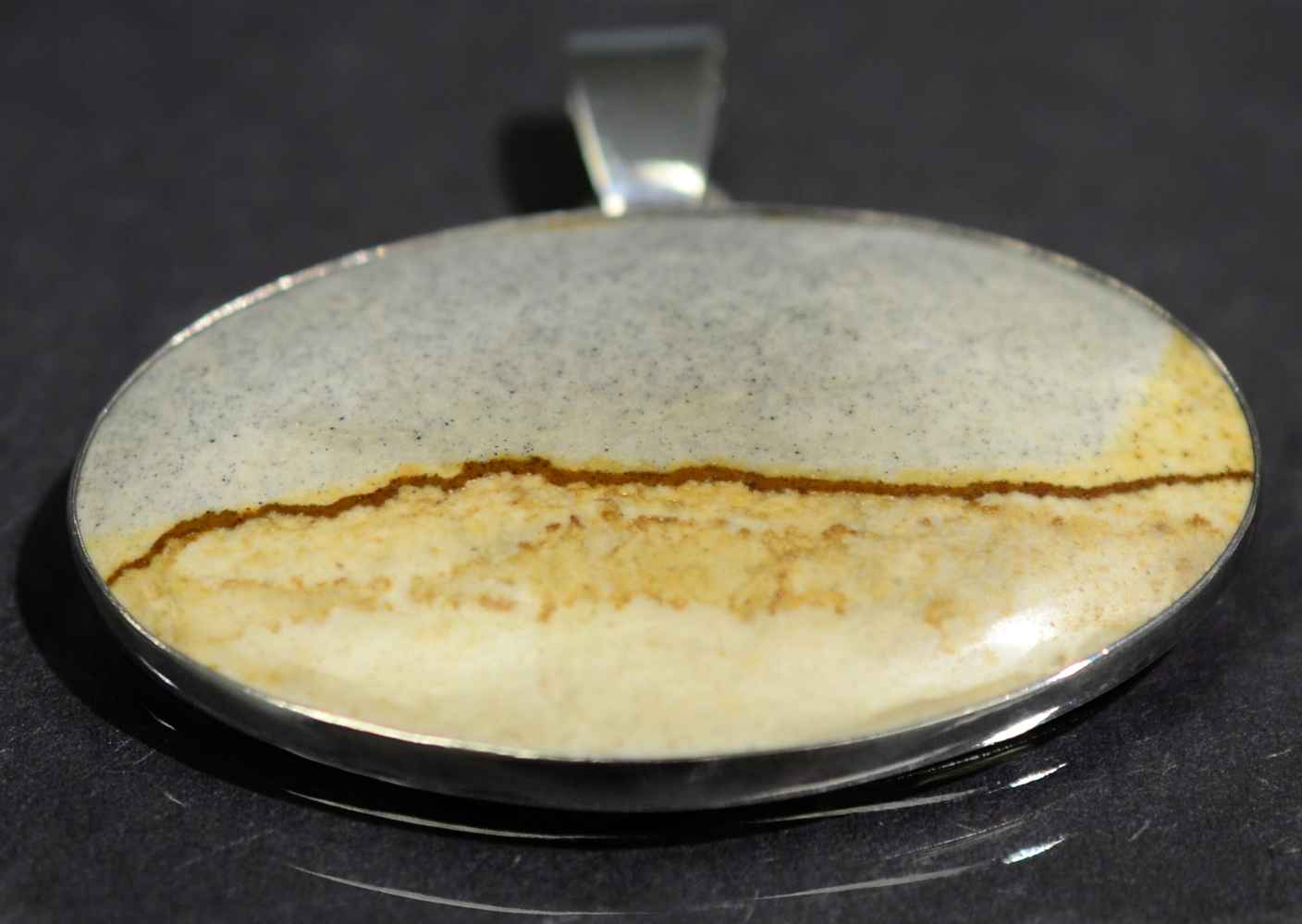 handmade McDermitt jasper and sterling silver oval pendant by Dale Repp