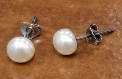 medium Fresh water pearl sterling silver post earrings