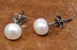 medium Fresh water pearl sterling silver post earrings