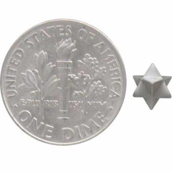 merkabah stud earrings with dime for scale