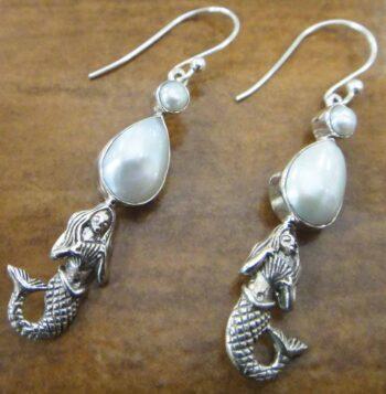 pearl sterling silver mermaid earrings