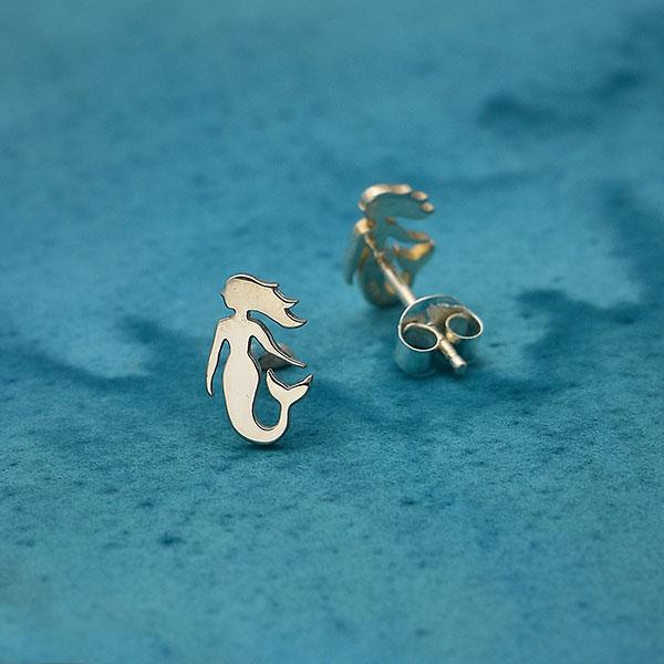 nickel-free sterling silver mermaid stud earrings