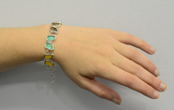 butterfly shaped colorful mixed real butterfly wing bracelet on model