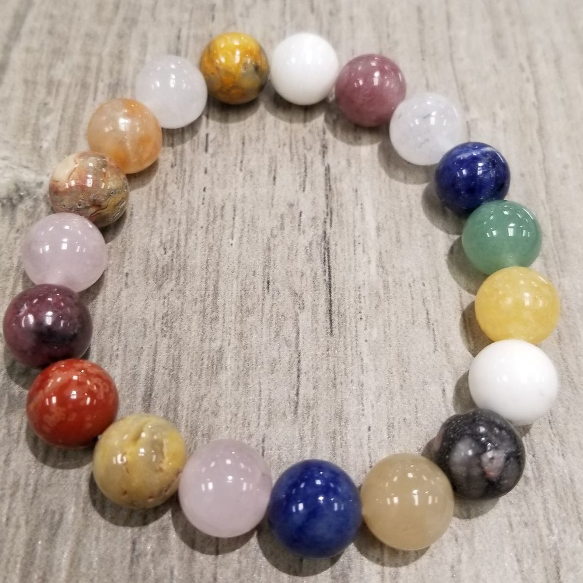 Multi color gemstone stretch bracelet