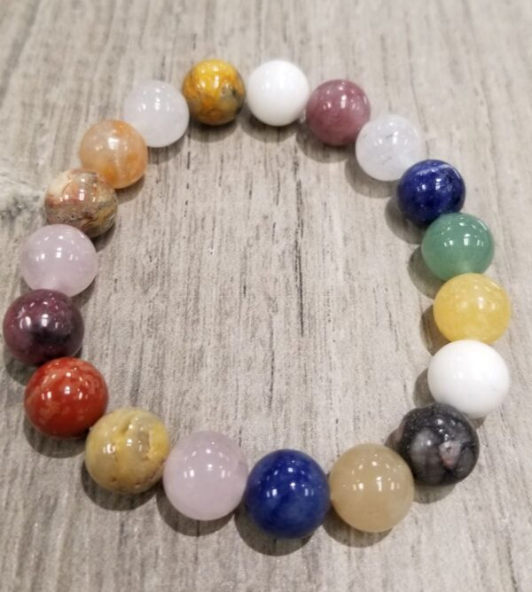 Multi color gemstone stretch bracelet