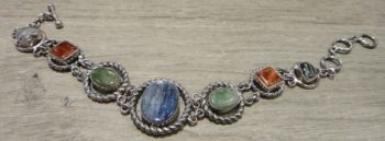 blue and green kyanite, agate, and zebra jade sterling silver bracelet