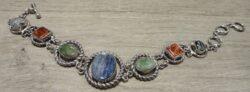 blue and green kyanite, agate, and zebra jade sterling silver bracelet