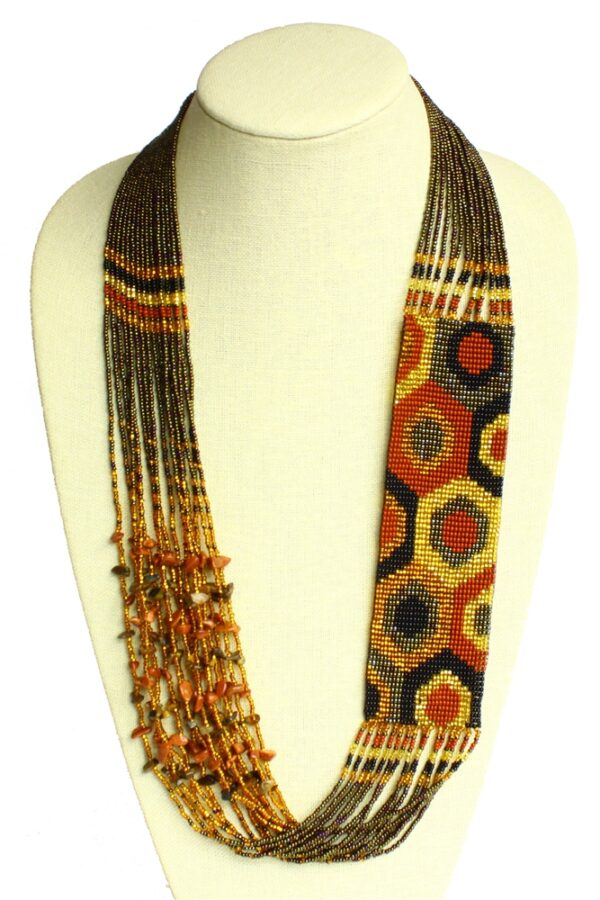 Brown Woven Seed Bead long statement necklace with Tiger's Eye, and goldstone accents