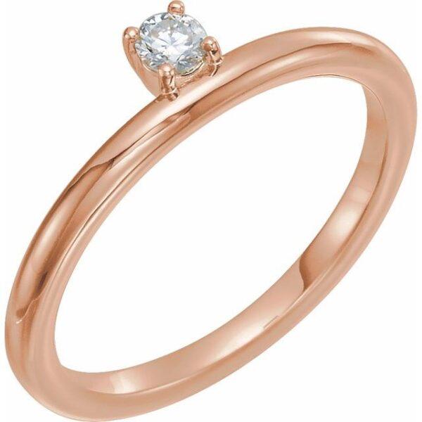 14k rose gold ring with 3 MM moissanite