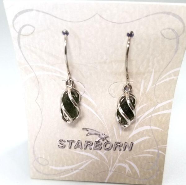 Moldavite Cage Set sterling silver earrings