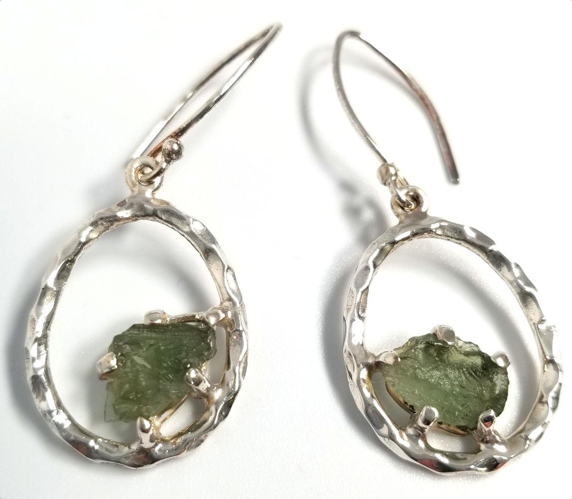 Moldavite and sterling silver earrings