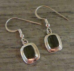 Handmade green moldavite and sterling silver dangle earrings