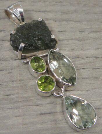 handmade moldavite, peridot, green amethyst and sterling silver pendant
