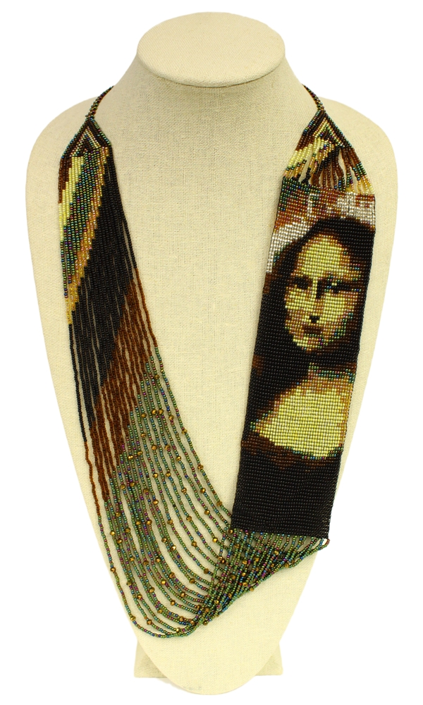 Mona Lisa inspired long beaded necklace