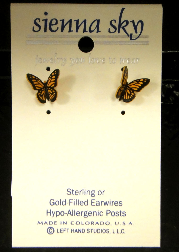 These monarch butterfly stud earrings are handmade by Sienna Sky.