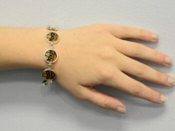 Monarch real butterfly wing bracelet modeled on wrist