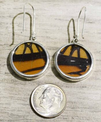 back of Monarch butterfly wing circle earrings with dime