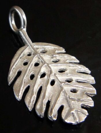 Sterling silver monstera leaf pendant back view