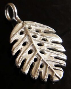 Sterling silver stylized monstera leaf pendant