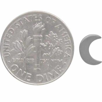 crescent moon post earring with dime for scale
