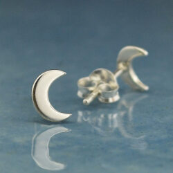 crescent moon sterling silver petite post earrings