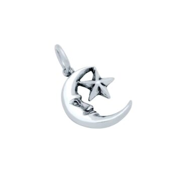 man in the moon star charm