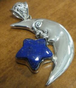 lapis lazuli star and sterling silver moon pendant