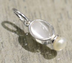 handmade Sierra moonstone and pearl pendant