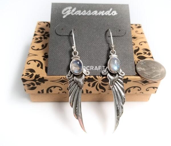 moonstone angel wing earrings