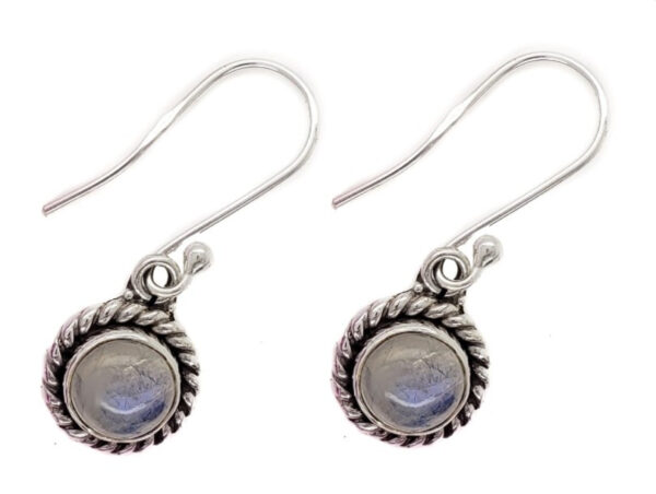 petite rainbow moonstone and sterling silver circle earrings