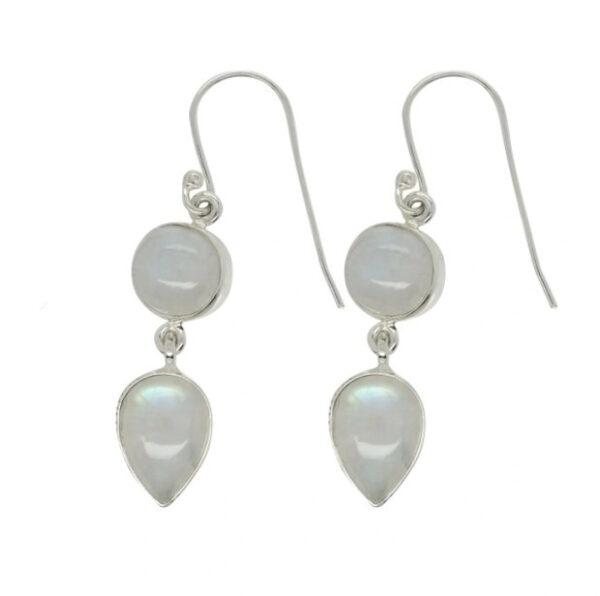 rainbow moonstone double stone earrings