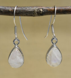 white rainbow moonstone and .925 sterling silver pear shaped drop earrings