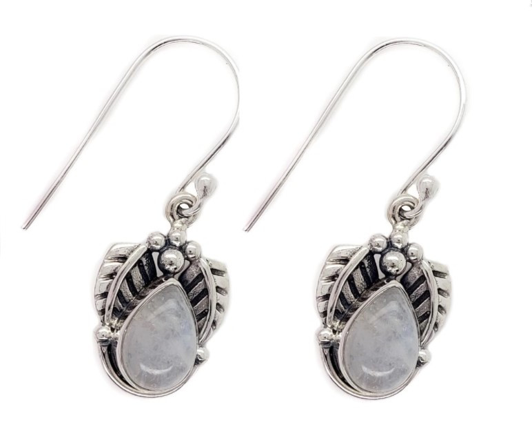 Rainbow moonstone drop earrings with leaf details