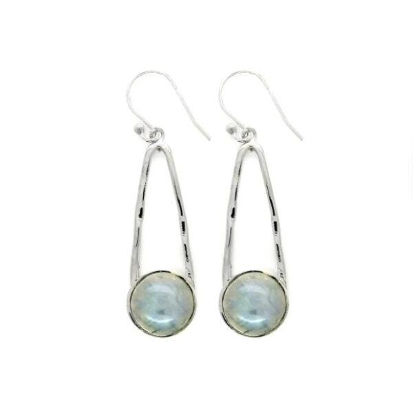 rainbow moonstone long sterling silver earrings