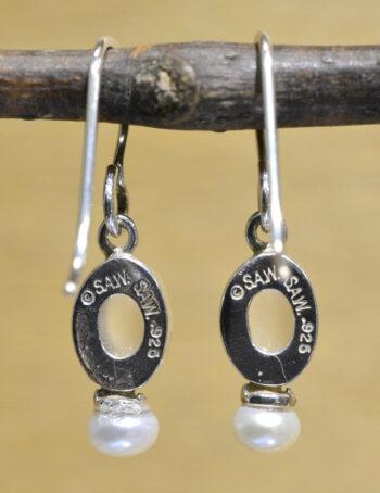back of Sierra Designs white moonstone and freshwater pearl oval earrings