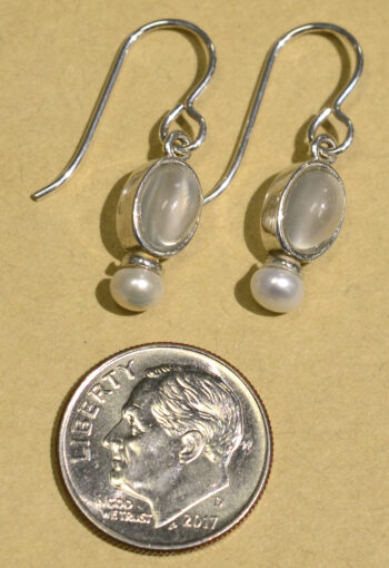Sierra Designs white moonstone and freshwater pearl oval earrings with dime