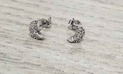 moon cubic zirconia sterling silver stud earrings