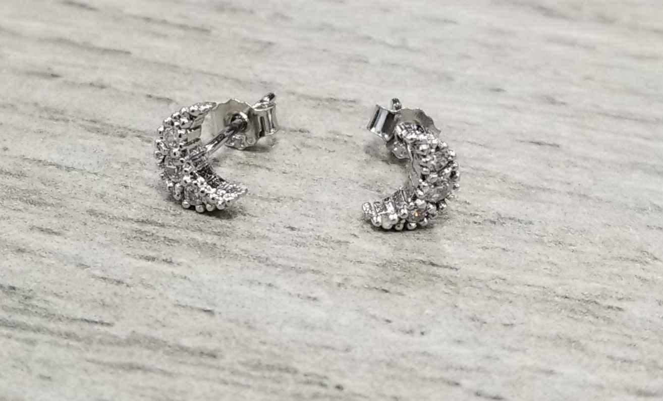 moon cubic zirconia sterling silver stud earrings