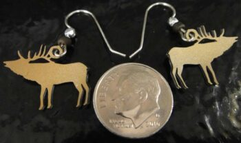 back of elk earrings with dime for scale