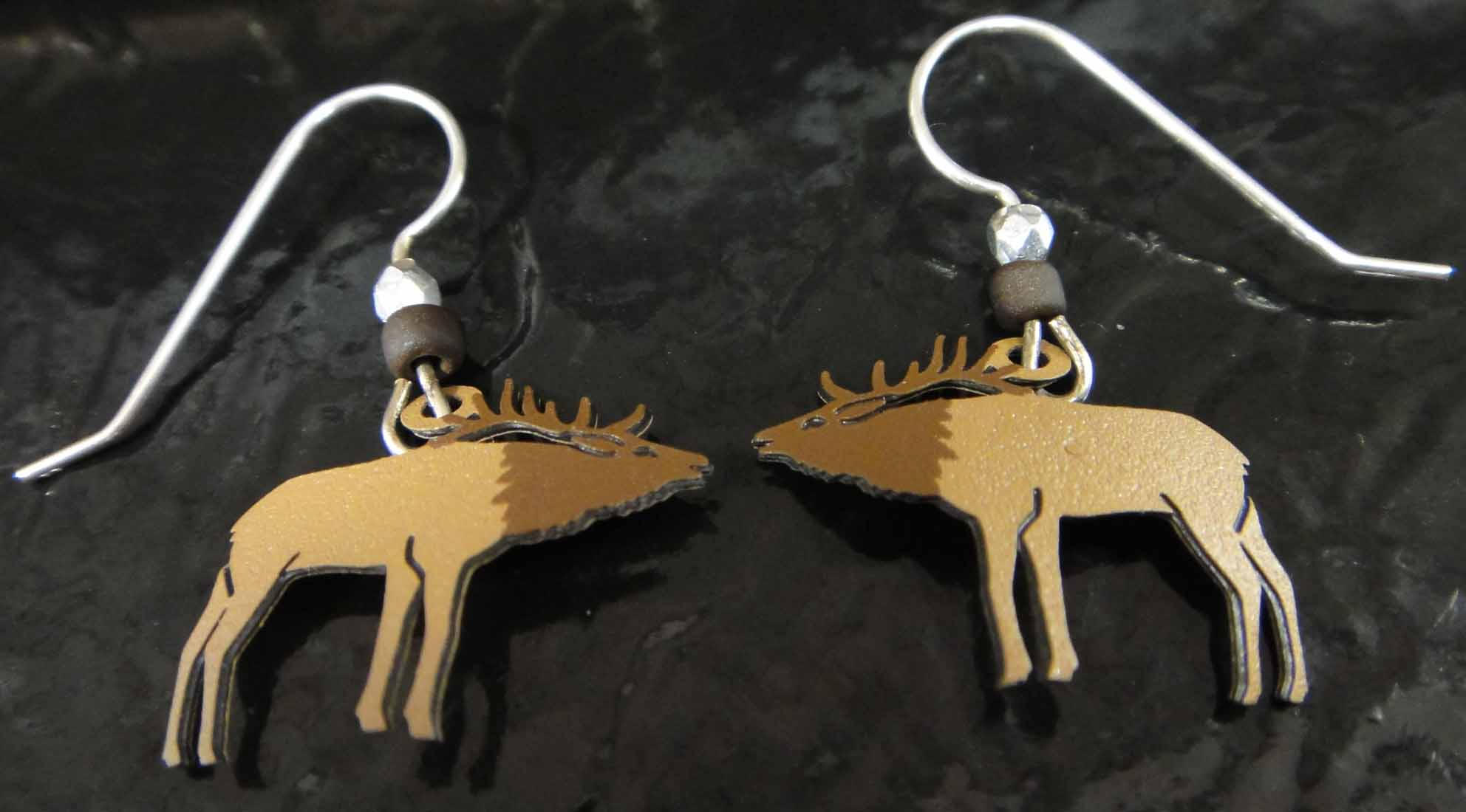 These moose earrings are handmade by Sienna Sky.
