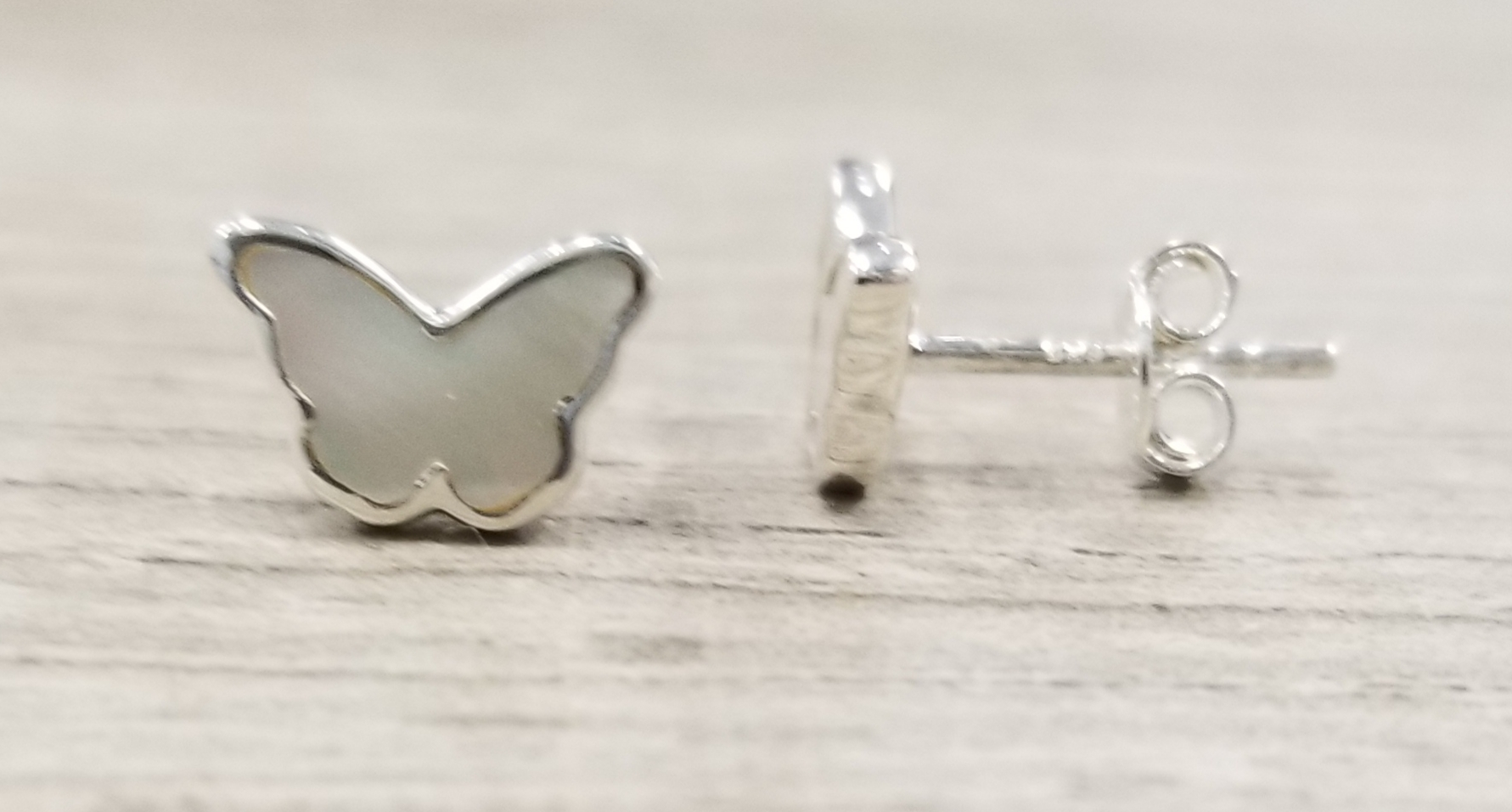 handmade mother of pearl and sterling silver butterfly shaped post earrings