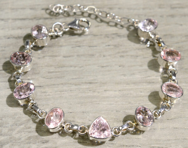 handmade pink morganite and sterling silver bracelet